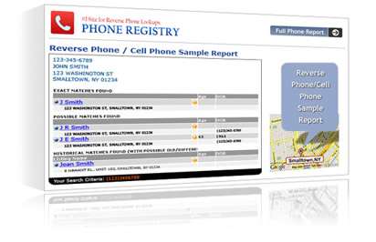 Phone Registry free reverse cell phone number lookup report.'