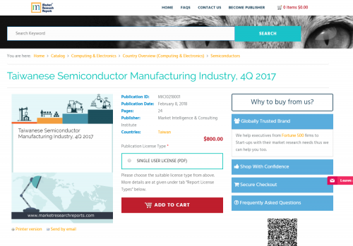Taiwanese Semiconductor Manufacturing Industry, 4Q 2017'