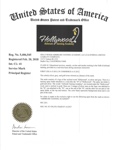 Hollywood Airbrush Tanning Academy Trademark'