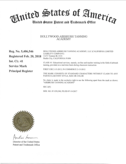 Hollywood Airbrush Tanning Academy Trademark