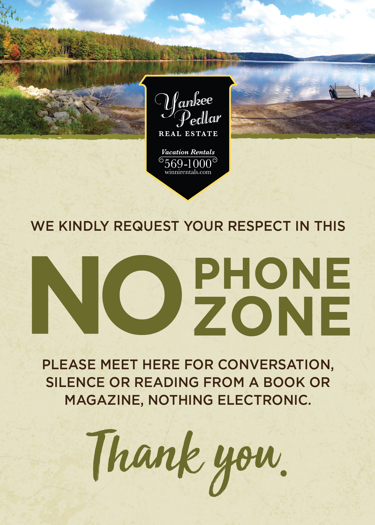 No Phone Zone Card