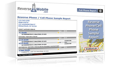 Reverse Mobile Sample Cell Phone lookup Report.'