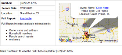Phone Detective sample cell phone number trace.'