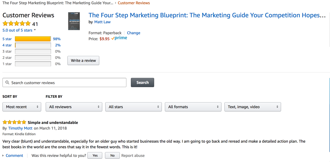 Four Step Marketing Book Reviews