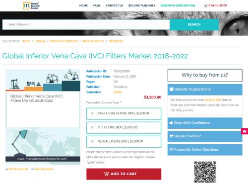 Global Inferior Vena Cava (IVC) Filters Market 2018 - 2022'