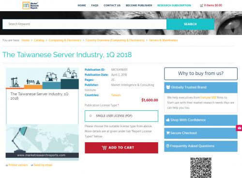 The Taiwanese Server Industry, 1Q 2018'