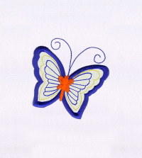 BLUE AND ORANGE BUTTERFLY APPLIQUE EMBROIDERY DESIGN Logo