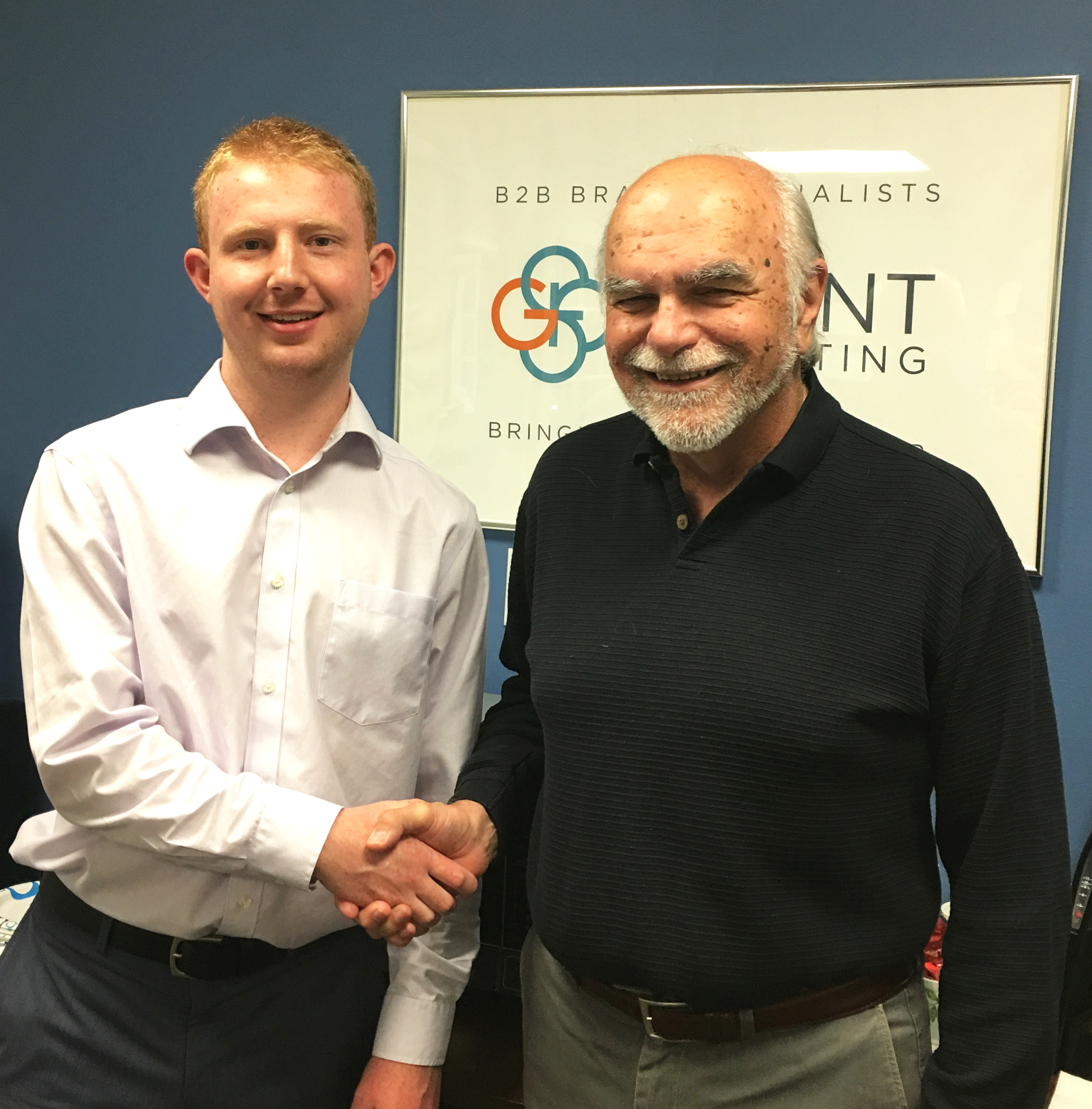 Bob welcomes Luke to Grant Marketing