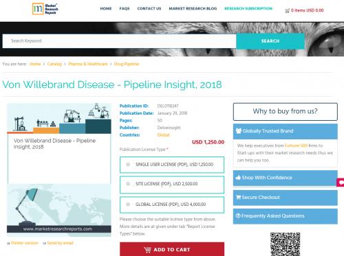 Von Willebrand Disease - Pipeline Insight, 2018'