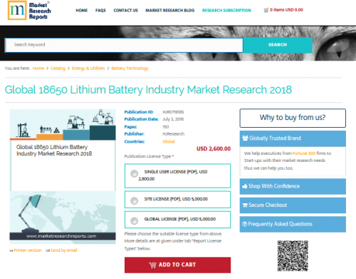 Global 18650 Lithium Battery Industry Market Research 2018'