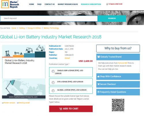 Global Li-ion Battery Industry Market Research 2018'