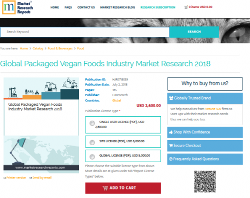 Global Packaged Vegan Foods Industry Market Research 2018'