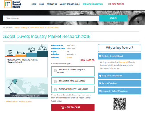 Global Duvets Industry Market Research 2018'