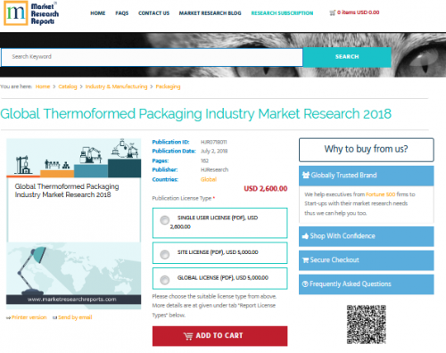 Global Thermoformed Packaging Industry Market Research 2018'