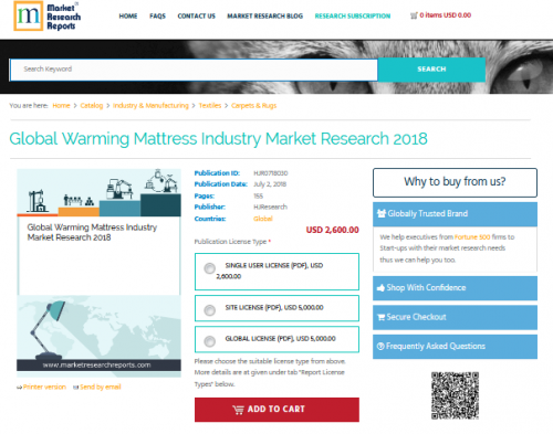 Global Warming Mattress Industry Market Research 2018'