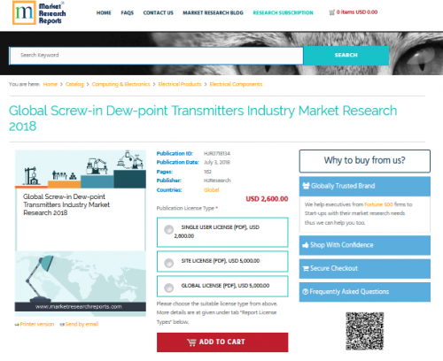 Global Screw-in Dew-point Transmitters Industry Market 2018'