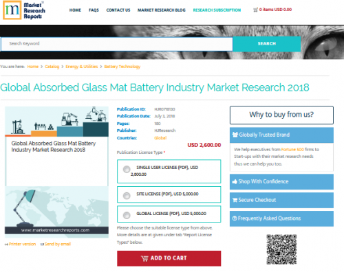 Global Absorbed Glass Mat Battery Industry Market Research'