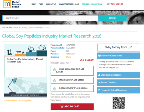 Global Soy Peptides Industry Market Research 2018'
