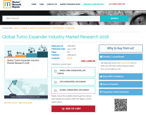 Global Turbo Expander Industry Market Research 2018'