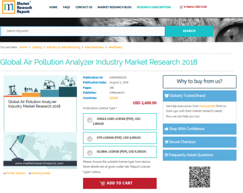 Global Air Pollution Analyzer Industry Market Research 2018'