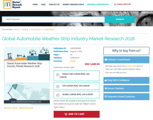 Global Automobile Weather Strip Industry Market Research'