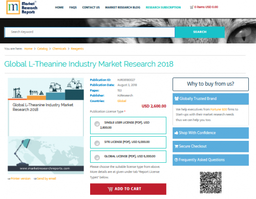 Global L-Theanine Industry Market Research 2018'