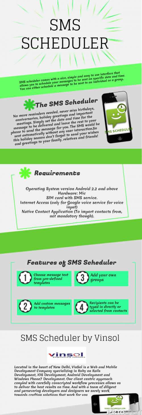 SMS Scheduler by Vinsol'