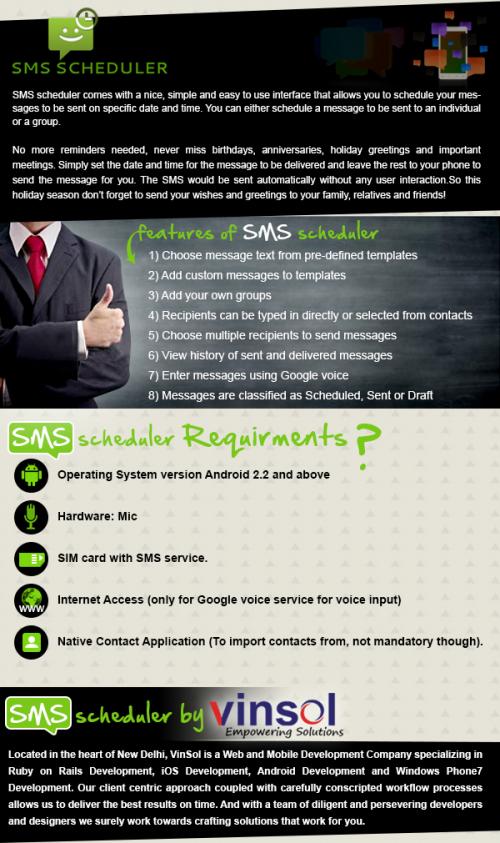SMS Scheduler by Vinsol'