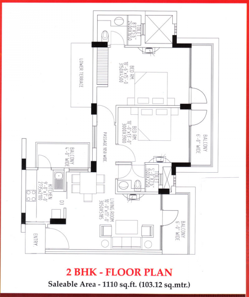 Tdi Kingsbury Apartments Floor Plan of 2BHK'