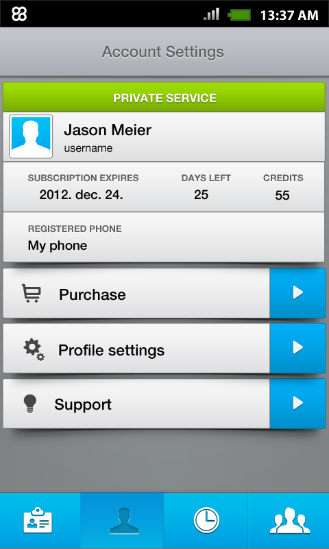 Reliaty55 account settings view'