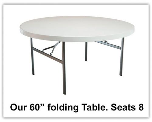 """Our premium 60"""" round table.'"""