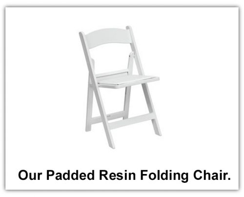 Our premium white resin padded folding chair.'