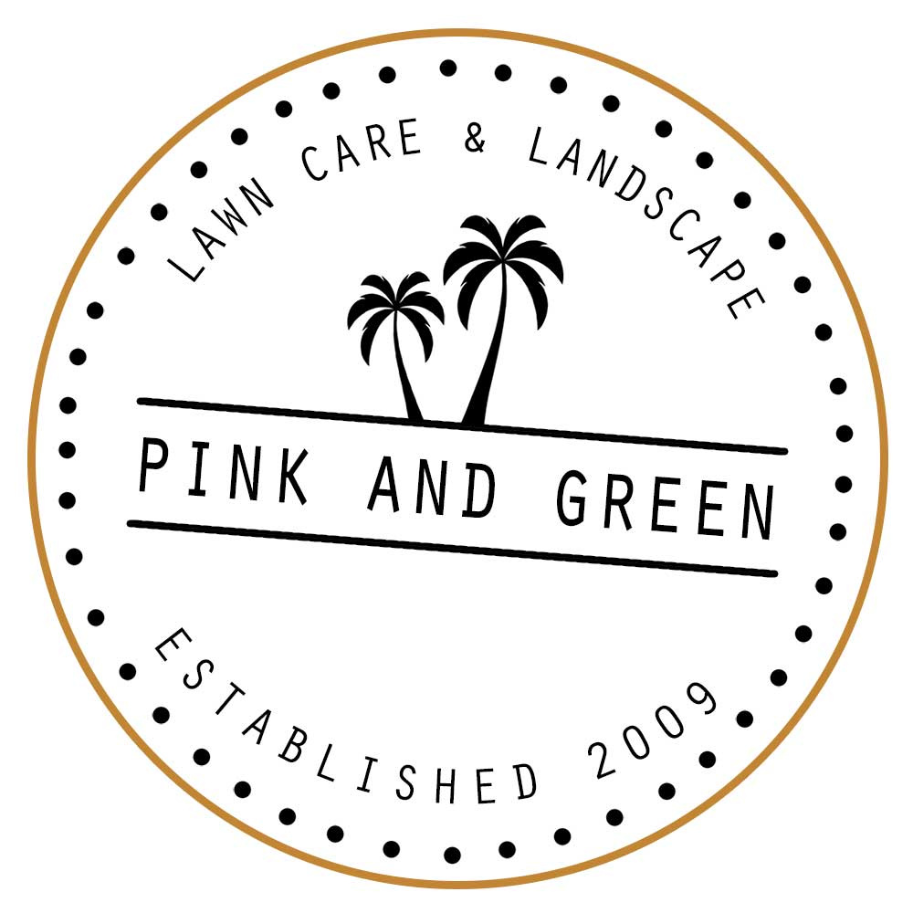Pink and Green Lawn Care and Landscape Logo