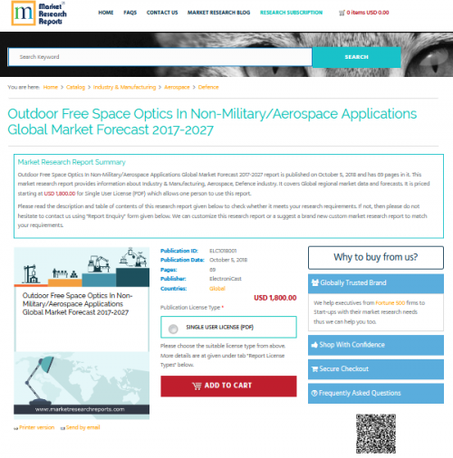 Outdoor Free Space Optics In Non-Military/Aerospace Applicat'