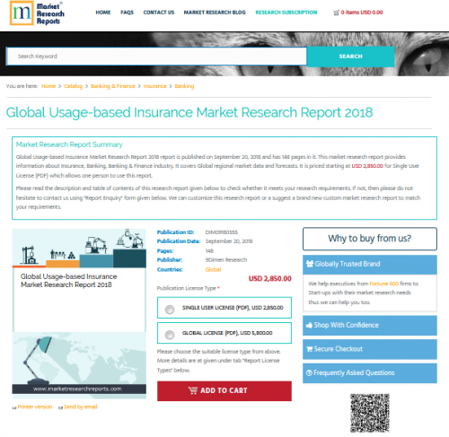 Global Usage-based Insurance Market Research Report 2018'