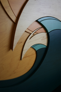 Morning Peaks - Wood Wave Sculpture - Close Up