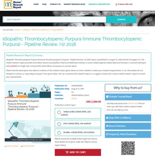 Idiopathic Thrombocytopenic Purpura Pipeline Review, H2 2018'