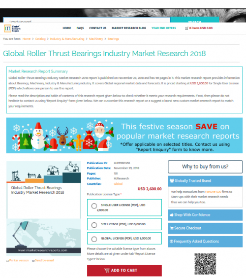 Global Roller Thrust Bearings Industry Market Research 2018'