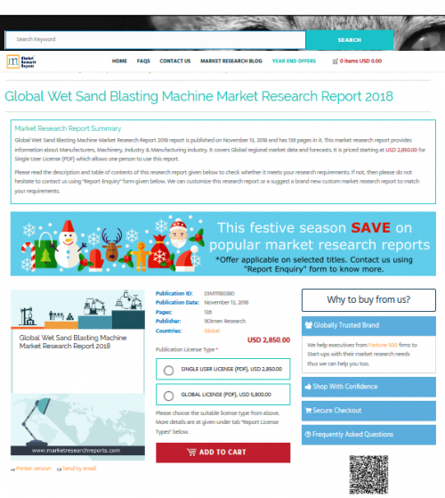 Global Wet Sand Blasting Machine Market Research Report 2018'