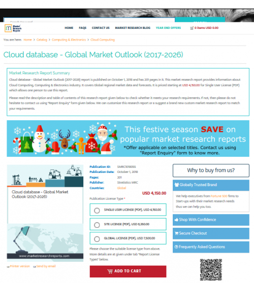 Cloud database - Global Market Outlook (2017-2026)'