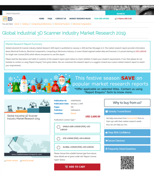 Global Industrial 3D Scanner Industry Market Research 2019'