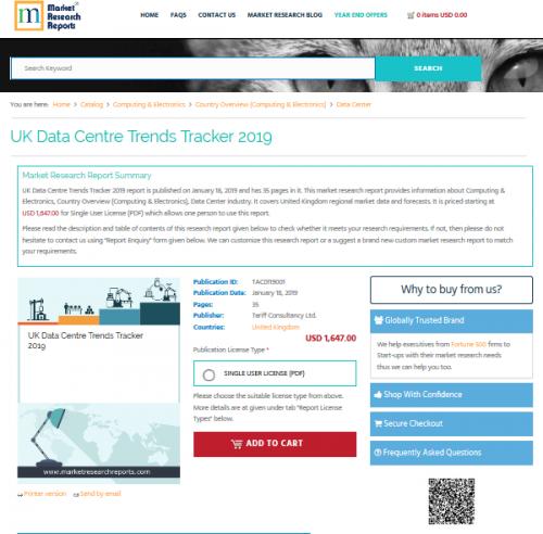 UK Data Centre Trends Tracker 2019'