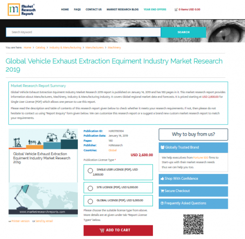 Global Vehicle Exhaust Extraction Equiment Industry'
