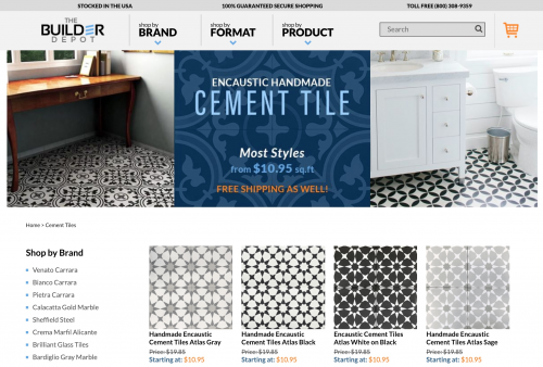 Cement Tile available on The Builder Depot website.'