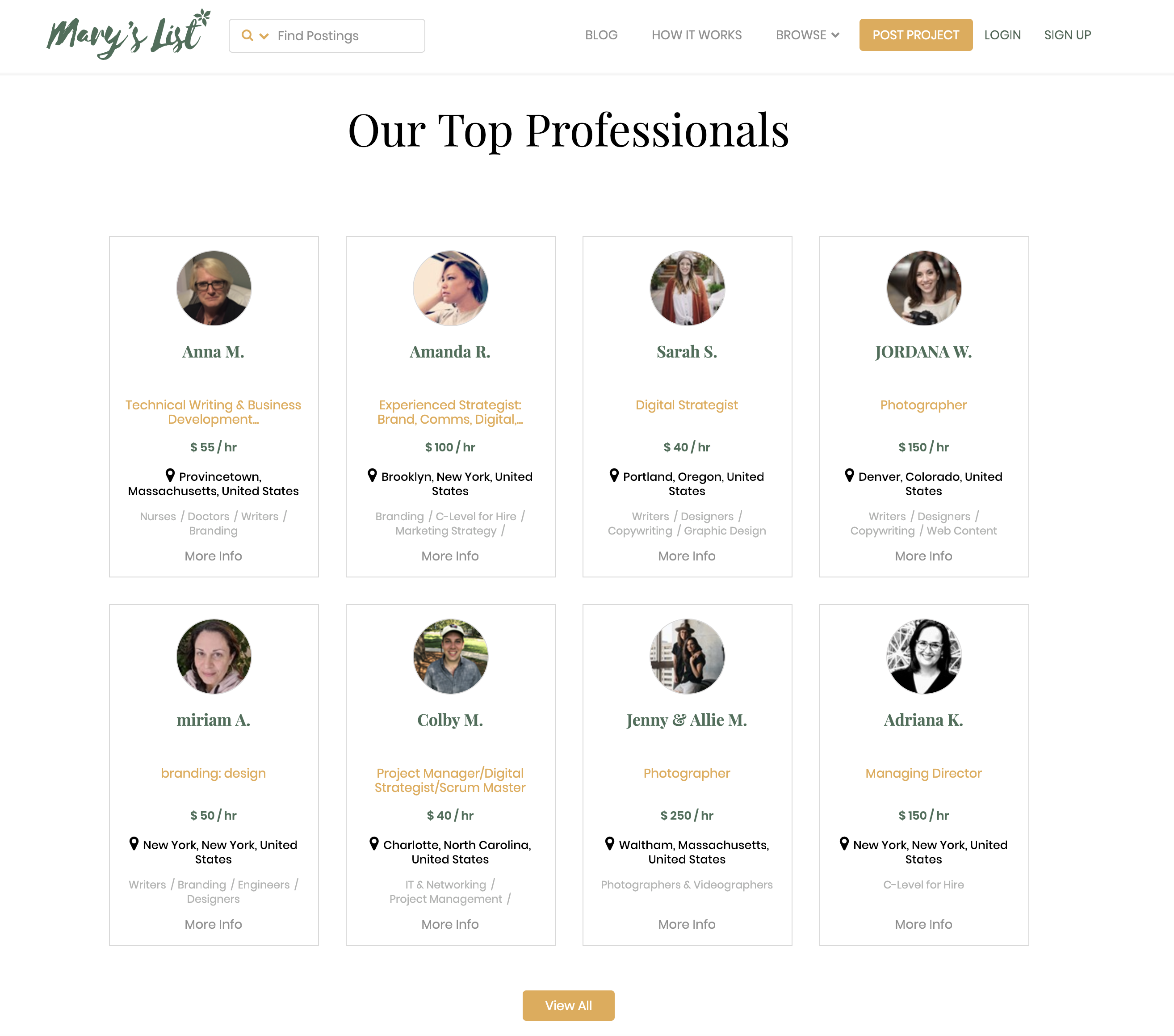 Mary's List Top Professionals
