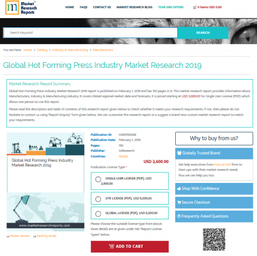 Global Hot Forming Press Industry Market Research 2019'