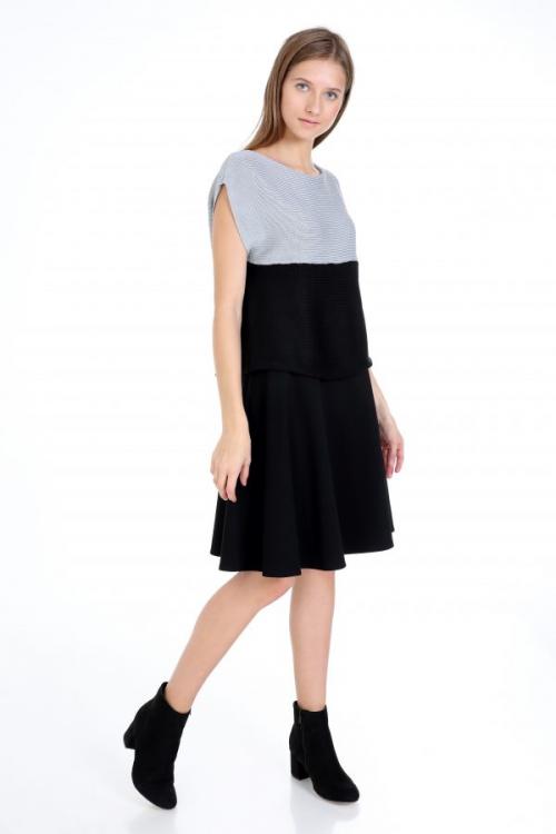 BUY A Black Line Jersey Skirt For Women'