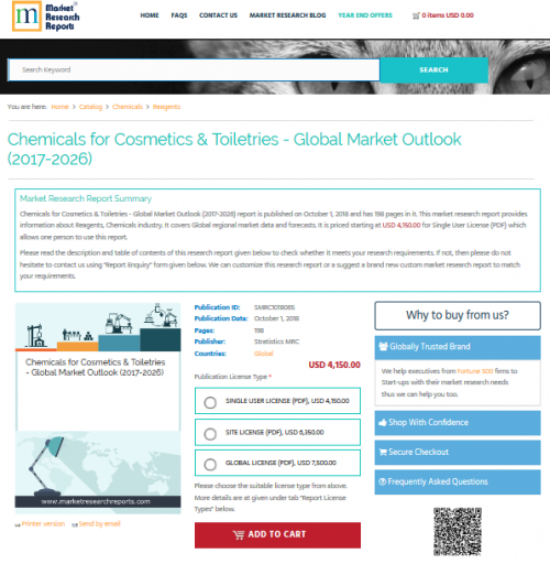 Chemicals for Cosmetics & Toiletries - Global Market'