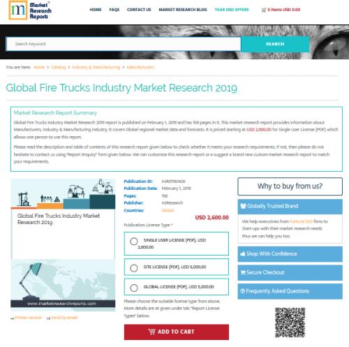 Global Fire Trucks Industry Market Research 2019'
