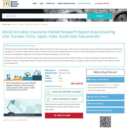 World Annuities Insurance Market Research Report 2024'